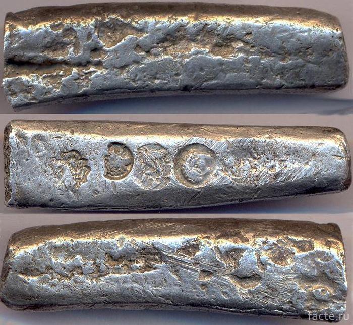 Первые рубли-бруски из серебра