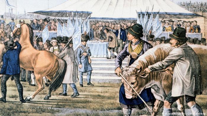 Смотр лошадей на первом Октоберфесте в 1810 году