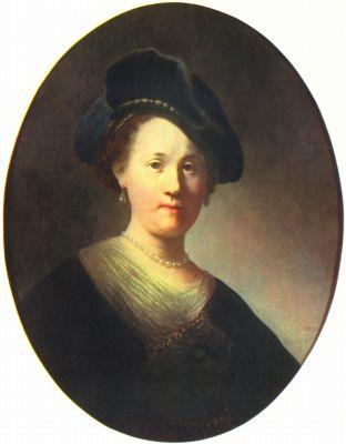 Рембрандт Харменс ван Рейн. Портрет молодой женщины с жемчужинами в берете