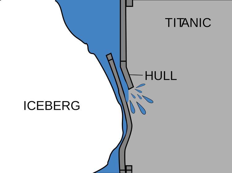 «Титаник» погнул обшивку корабля, в результате чего герметичность была нарушена