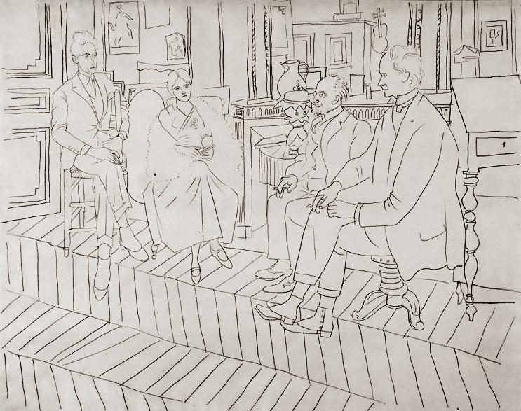 Пабло Пикассо. В салоне на улице Ла Боэси: Жан Кокто, Ольга, Эрик Сати, Клайв Белл
