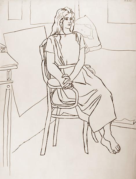 Пабло Пикассо. Ольга с распущенными волосами
