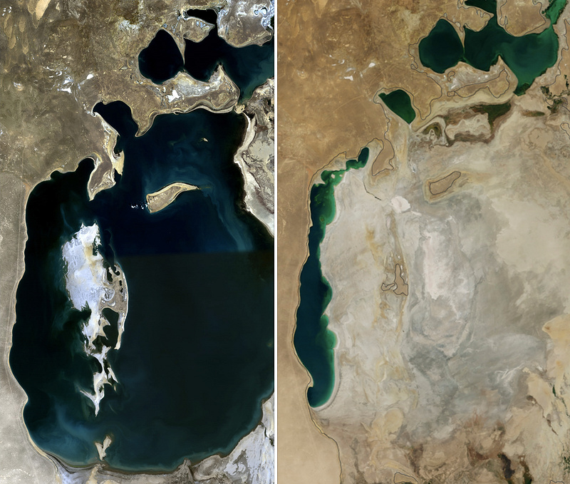 Размеры Аральского моря в 1989 (слева) и 2014 (справа) годах. Фото: NASA / Wikimedia Commons / Public Domain