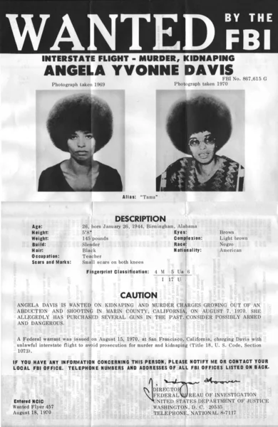 Плакат: Анжела Дэвис в розыске