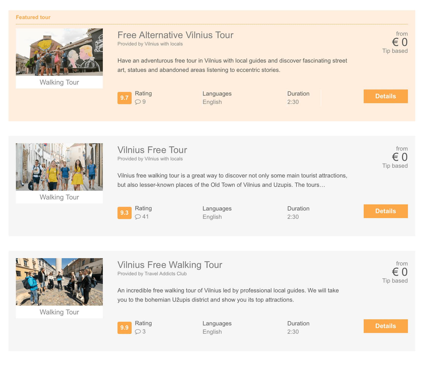 На сайте freetour.com предлагают сразу все бесплатные туры по городу. Указан рейтинг, язык экскурсии, длительность, на карте отмечено место встречи